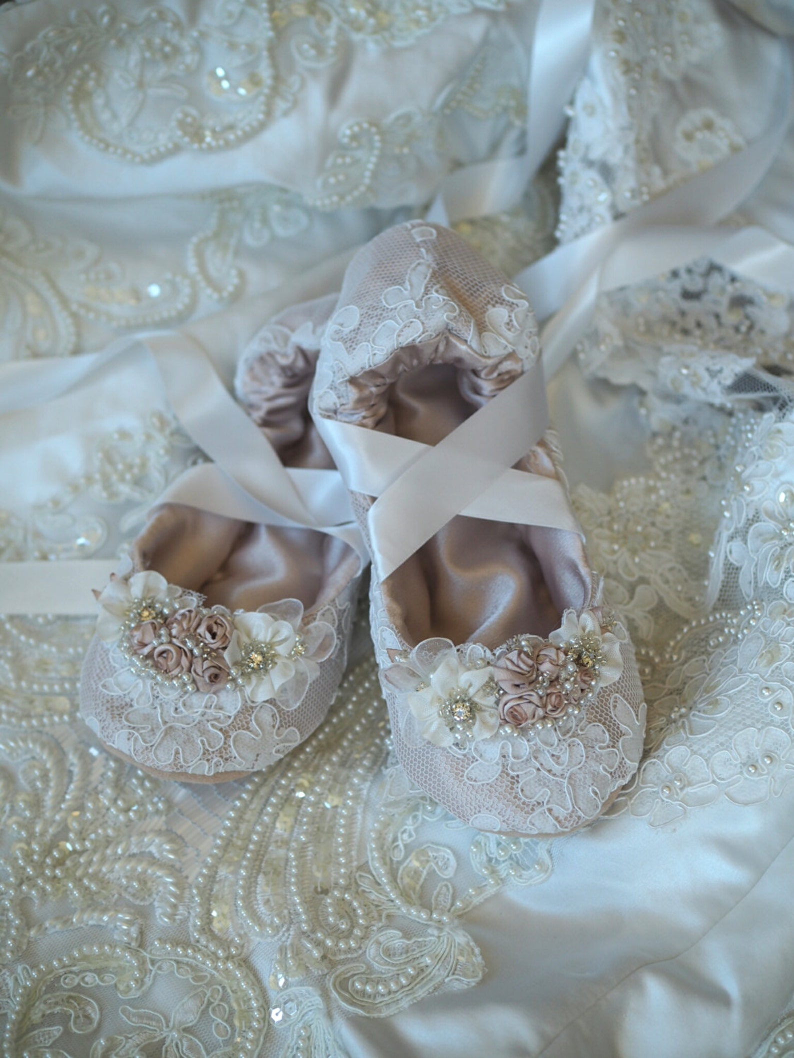 champagne princess ballerina bridal slipper with white lace, custom princess ballerina wedding slippers, beaded bridal ballet sl