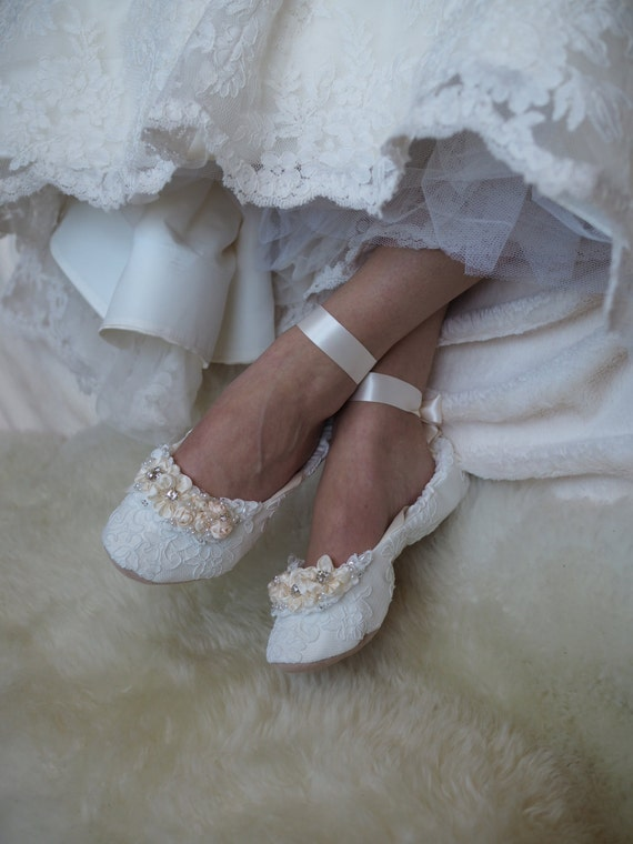 Princess Wedding Shoes | Princess Bridal Ballet Shoes Lace Wedding Shoes With Etsy