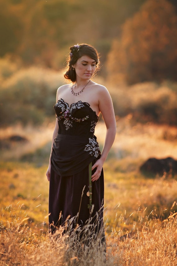Ready To Shipblack Lace Wedding Gown Black Lace And Purple Etsy