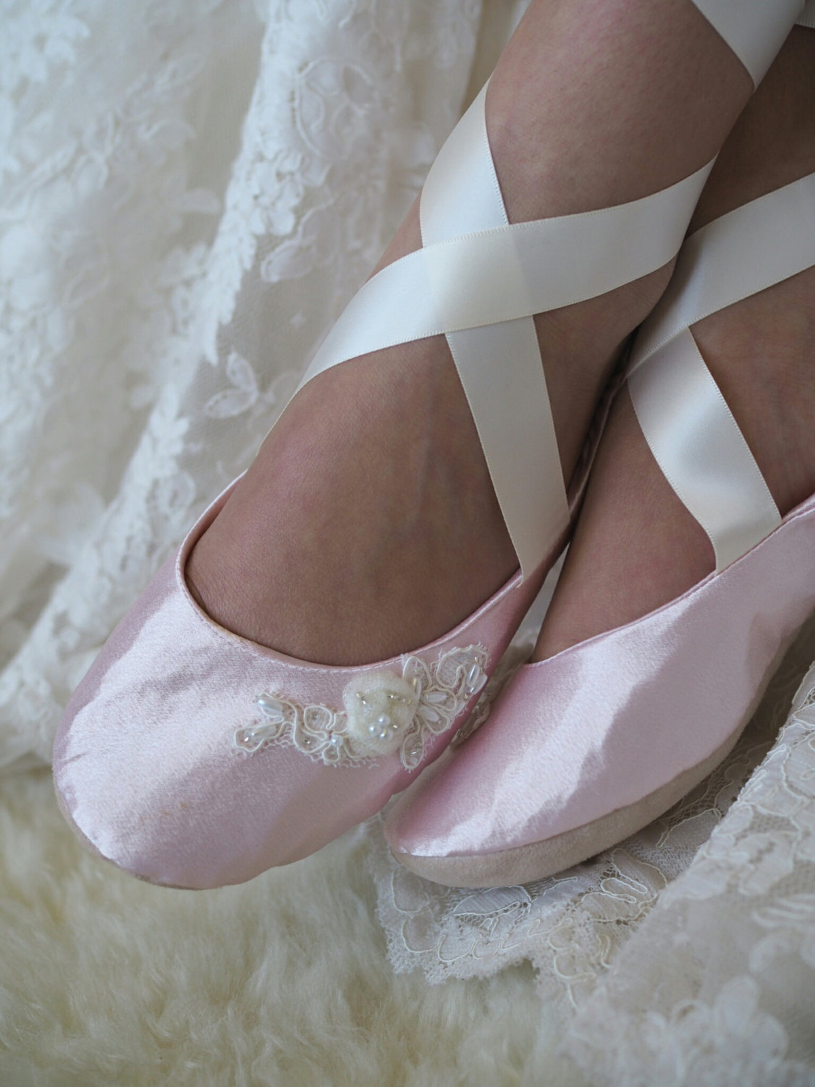 blush pink ballerina bridal slipper, pink ballet wedding slipper, ballerina style flat wedding shoe