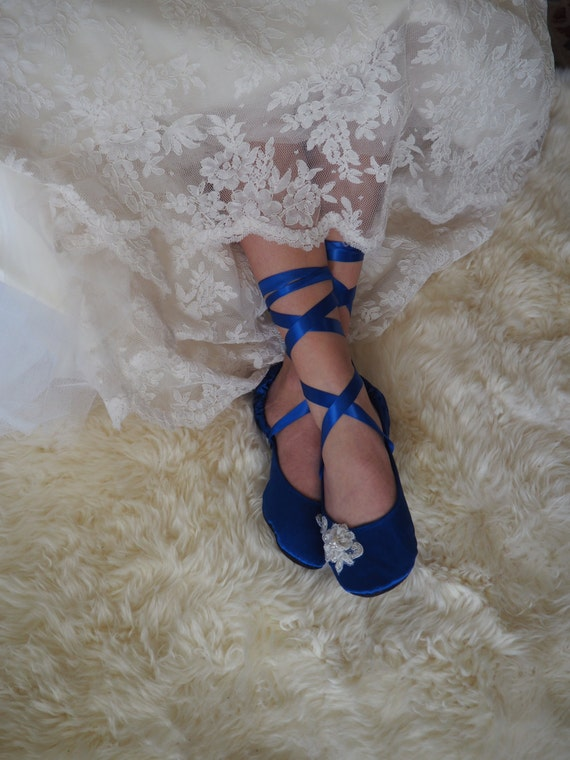 6dc05d32661 Something Blue Bridal Shoes, Cobalt Blue Wedding Shoes, Royal Blue Flat  Wedding Shoes, Blue Ballet Flat Shoes, Blue Ballerina Bridal Flats