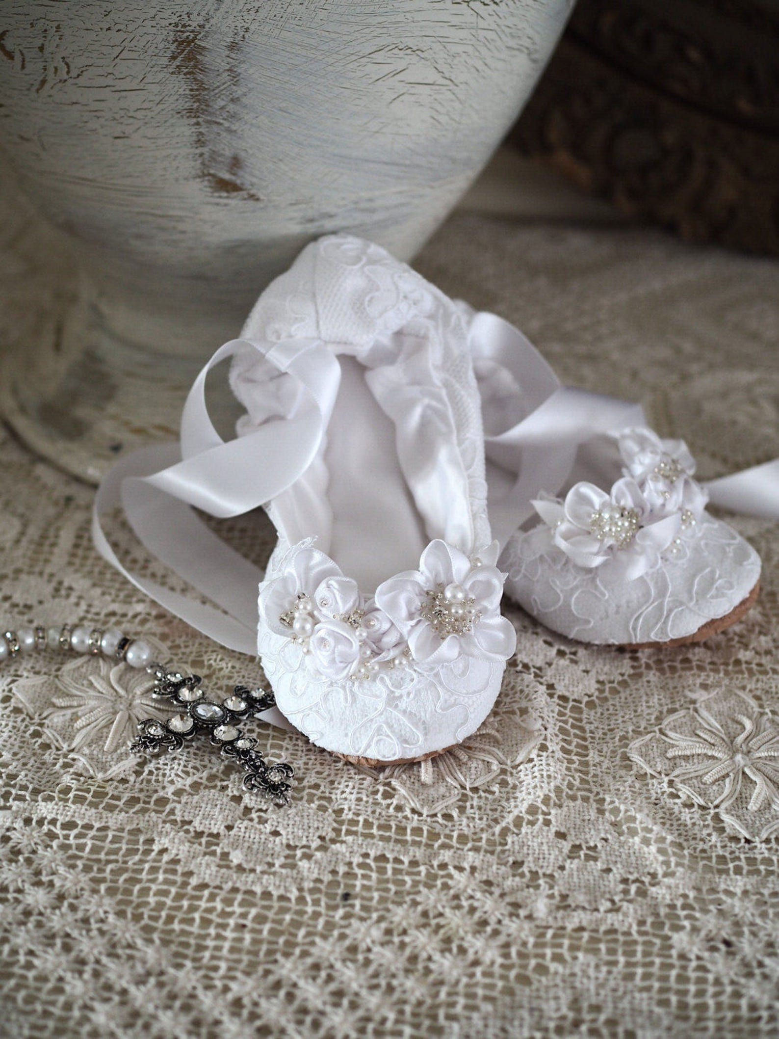 white lace first communion princess ballerina slipper ~ first communion satin ballet shoe ~ princess flower girl ballet flat