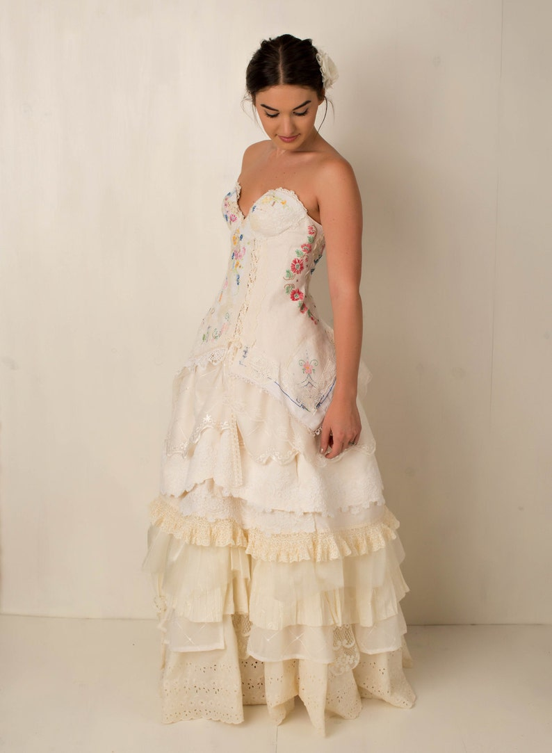 Embroidered Wedding Dress.Wildflower Embroidered Wedding Gown Embroidered Corset Bridal Gown Story Book Romance Wedding Dress Handmade Embroidered Wedding Dress