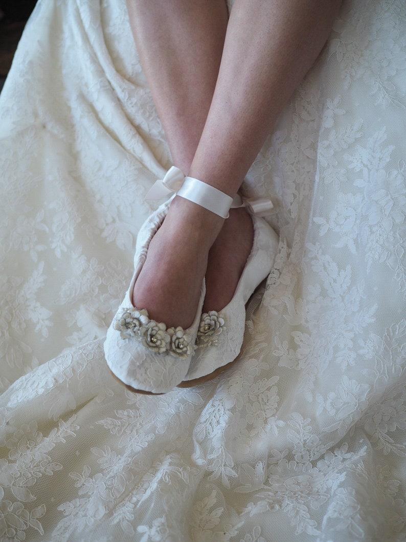 24e8cafaae3086 Elegant Lace Ballerina Bridal Slipper Embellished Bridal