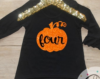 Birthday Girl Shirt / Four 4 Year Old Outfit Pumpkin Fourth Birthday Shirt 4th Birthday Girl Outfit Tshirt Birthday Party Four Shirt 124