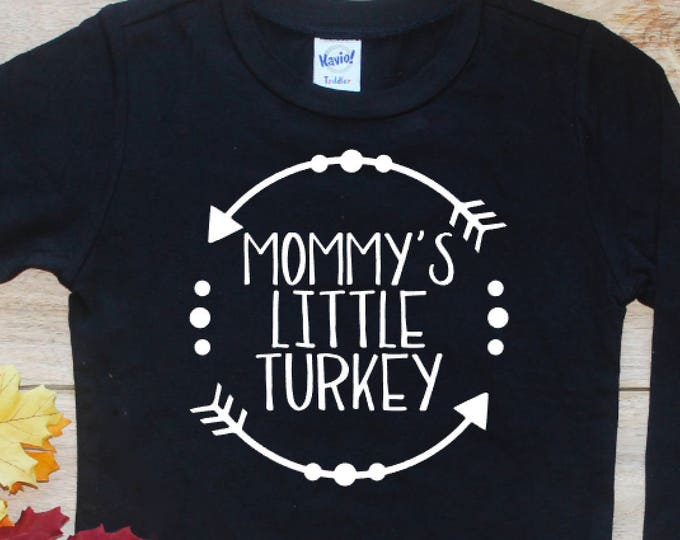 Mommy's Little Turkey Bodysuit Shirt / First Halloween Baby's 1st Thanksgiving Fall T-Shirt Trick Treat Little Boy Toddler Outfit 241