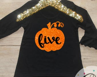 Birthday Girl Shirt / Pumpkin Toddler Girl Clothes 5 Year Old Outfit Fifth Birthday Shirt 5th Birthday Girl Outfit Birthday October Fall 124