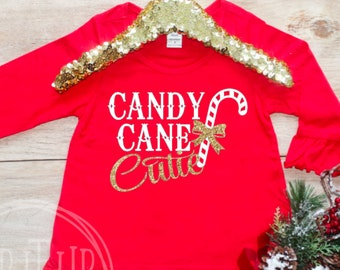 Candy Cane Cutie Christmas Shirt / First Christmas Baby's 1st Xmas Baby Girl Clothes Santa Outfit Pajama TShirt Happy Holidays Outfit 312