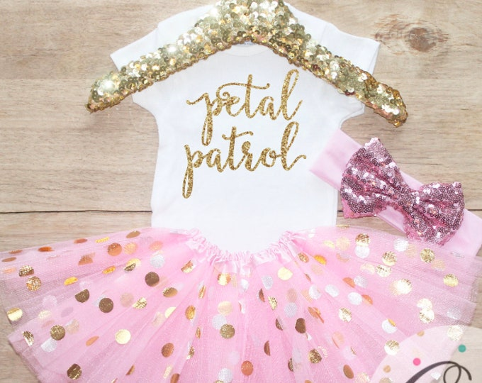 Petal Patrol Flower Girl Tutu Outfit Set / T-Shirt Headband Bow 185