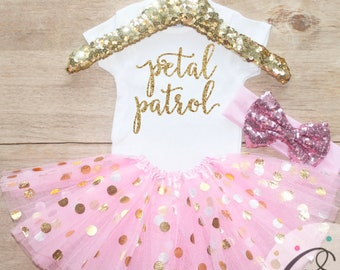 Petal Patrol  Outfit / Baby Girl Clothes Flower Girl Outfit Flower Girl Gift  Set Wedding Day Girl Outfit Baby   Shirt 185