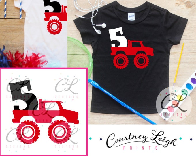 Fifth Birthday Monster Truck Birthday Boy Shirt / Baby Boy Clothes 5 Year Old Outfit Five Birthday TShirt 5th Birthday Party Toddler 293
