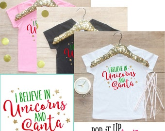 I Believe In Unicorns and Santa Shirt / Baby Girl Clothes Baby's 1st Christmas Outfit First Xmas TShirt Happy Holidays TShirt Christmas 314