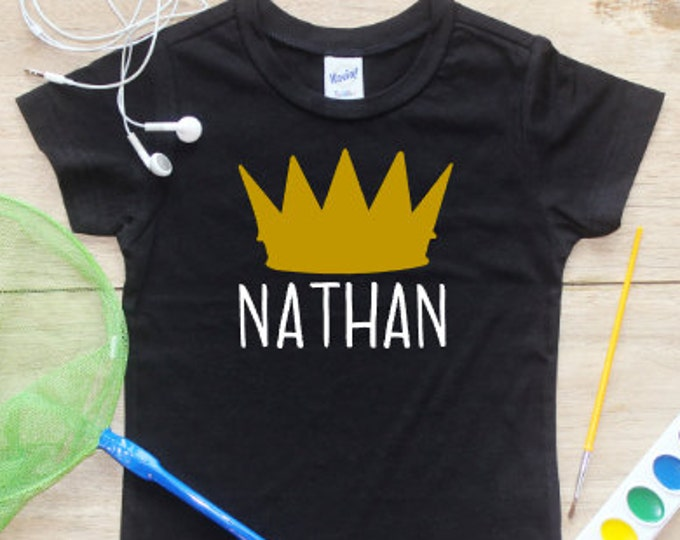 Personalized Birthday Boy Shirt Bodysuit / T-Shirt Crown King Wild One Thing Baby Clothes Toddler Smash Cake First 1st 1 Party Outfit 252