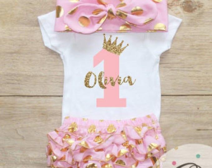 First Birthday Bodysuit / Baby Girl Clothes 1 Year Old Outfit One Birthday 1st Birthday Girl Shirt Name 067
