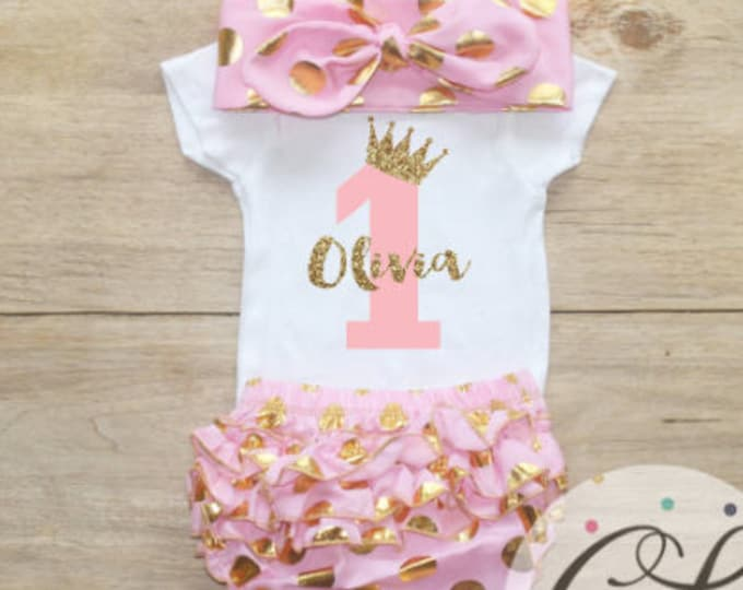 Personalized Age Birthday Bloomers Outfit Set / One Bodysuit 067