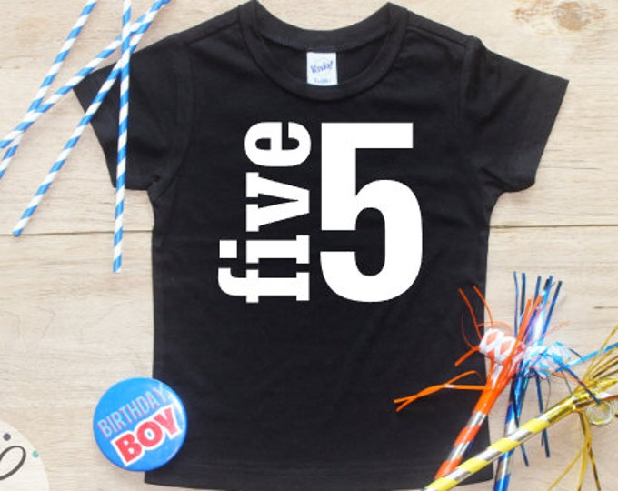Birthday Boy Shirt / Baby Boy Clothes 5 Year Old Outfit Fifth Birthday TShirt 5th Birthday Boy Outfit Birthday Party Five Shirt Toddler 019