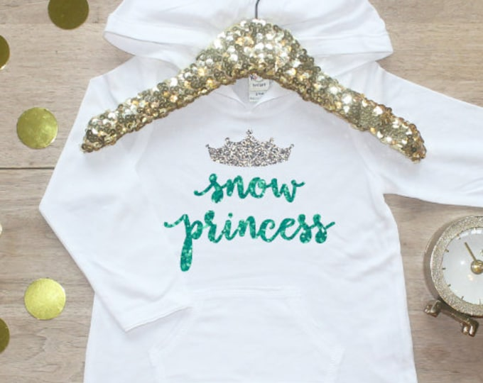 Snow Princess Hoodie Shirt / Baby Girl Clothes Frozen Birthday Winter Princess Year Old Outfit First Birthday Cake Smash Princess Crown 143