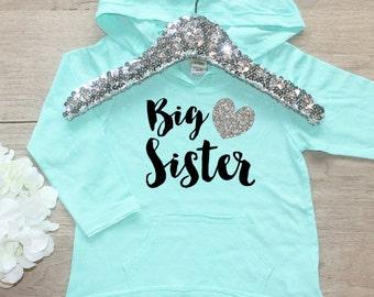 Big Sister Shirt / Baby Girl Clothes  Big Sister Hoodie Shirt Sibling Shirt Little Sis Family New Baby Announcement Shirt Long Sleeve 002
