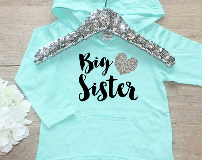 Big Sister Shirt / Baby Girl Clothes  Big Sister Hoodie Shirt Sibling Shirt Little Sis Family New Baby Announcement Shirt Long Sleeve 002