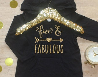 Birthday Girl Shirt / Five and Fabulous Clothes 5 Year Old Outfit Fifth Birthday Shirt 5th Birthday Girl Outfit Hoodie Birthday Shirt 180
