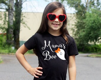 Mama's Boo Shirt or Bodysuit / Baby Girl Clothes Mommy Spook Spooky Outfit First Halloween Toddler Trick Treat Ghost Tshirt Long Sleeve 162
