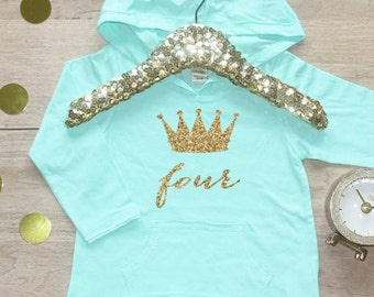 Birthday Girl Shirt / Baby Girl Clothes 4 Year Old Outfit Fourth Birthday Shirt 4th Birthday Girl Outfit Hoodie Birthday Party Four Shirt 11