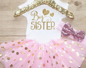 Big Sister Outfit / Baby Girl Clothes Big Sister Outfit Baby Shower Gift Big Sister  Outfit Pregnancy Announcement   Set 049