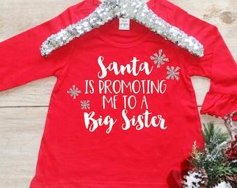 Christmas Big Sister Shirt / Baby Girl Clothes Big Sister Christmas Outfit Matching Sibling Pregnancy Announcement Santa Promoting 176