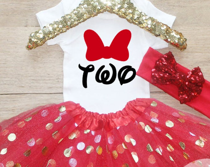 Two Bithday Girl Bow Tutu Outfit Set / T-Shirt 260