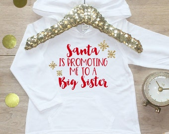 Christmas Big Sister Shirt / Baby Girl Clothes Big Sister Christmas Outfit Matching Sibling Pregnancy Announcement Santa Promoting 176
