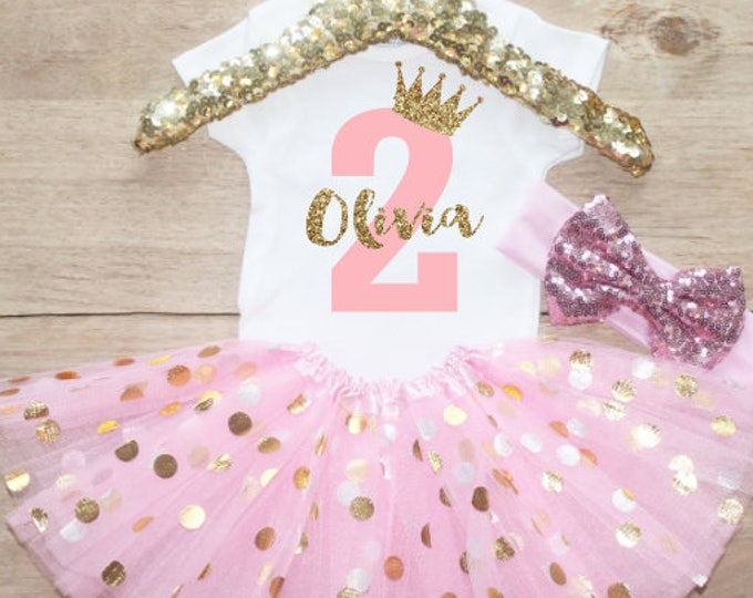 Personalized Age Birthday Tutu Outfit Set / Two T-Shirt 067