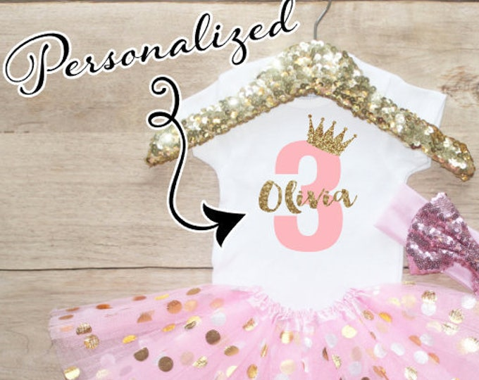Personalized Age Birthday Tutu Outfit Set / Three T-Shirt 067
