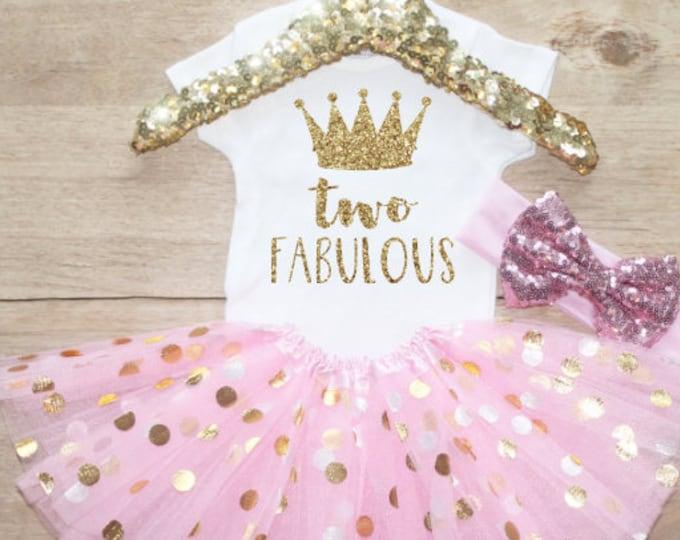 Two Fabulous Birthday Tutu Outfit Set / Crown T-Shirt 211