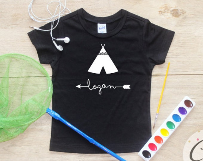 Personalized shirt / Baby Boy Clothes Teepee Arrow Tribal Shirt Name Custom Shirt Baby Wild One Shirt Toddler Baby Shower Gift Shirt 120