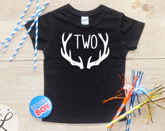 Birthday Boy Shirt or Bodysuit / 2nd Birthday T-Shirt 2 Birthday Shirt Two Year Old Outfit Boy Deer Birthday Second Toddler Party Tee Antler