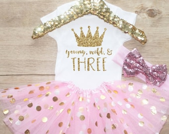 Third Birthday Shirt Outfit / Baby Girl Clothes Young Wild Three 3 Year Old Tutu Outfit Three Birthday Set 3rd Birthday Princess Crown 069