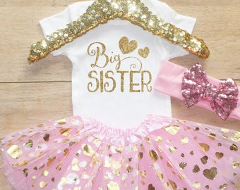 Big Sister  Outfit / Baby Girl Clothes Big Sister Outfit Baby Shower Gift Big Sister Bodysuit Pregnancy Announcement   Set 049