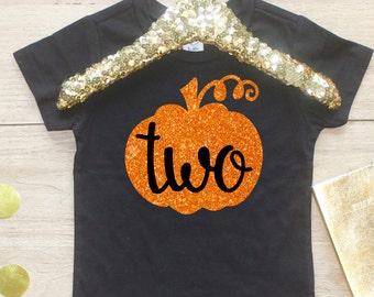 Two Halloween Pumpkin Birthday Girl Shirt / T-Shirt 124