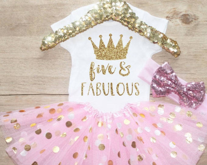 Fifth Birthday Shirt Outfit / Baby Girl Clothes Five and Fabulous 5 Year Old  Outfit Five Birthday Set 5th Birthday Princess Crown 206