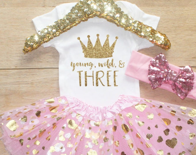 Third Birthday  Shirt Outfit / Baby Girl Clothes Young Wild Three 3 Year Old Outfit Three Birthday Set 3rd Birthday T-Shirt Princess 069