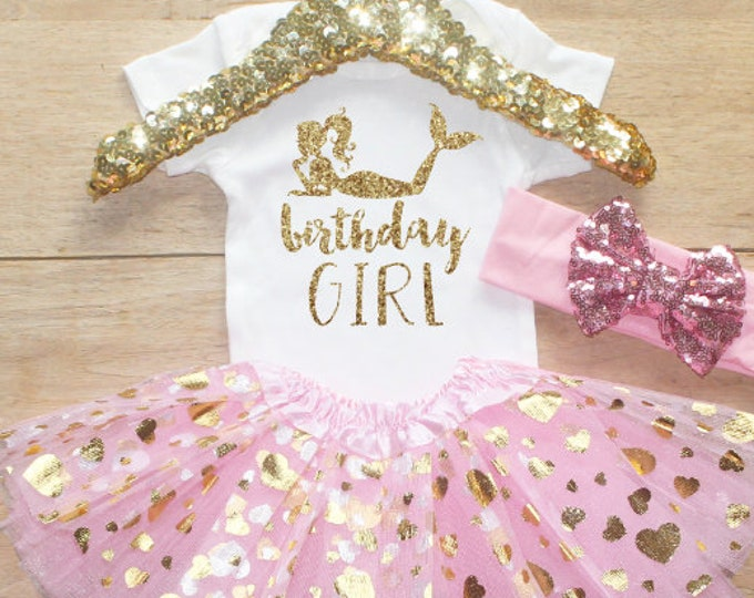 Birthday Girl  Outfit / Baby Girl Clothes 1 Year Old Outfit One Birthday Set 1st Birthday Girl Bodysuit Little Mermaid   050