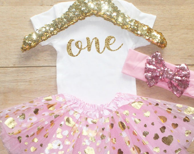 First Birthday  Bodysuit Outfit / Baby Girl Clothes 1 Year Old Outfit One Birthday Set 1st Birthday Girl Outfit Baby   Outfit 053