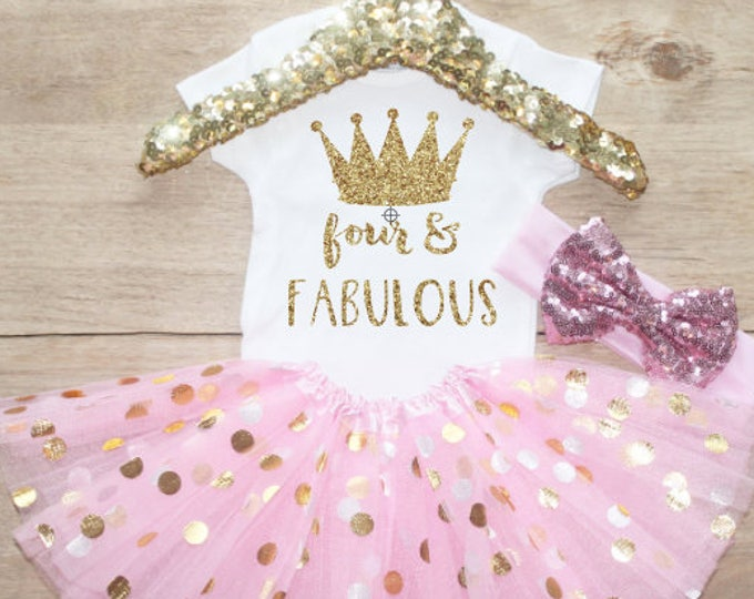 Fourth Birthday T-Shirt Outfit / Baby Girl Clothes Four Fabulous 4 Year Old  Outfit Four Birthday Set 4th Shirt Princess Crown 205