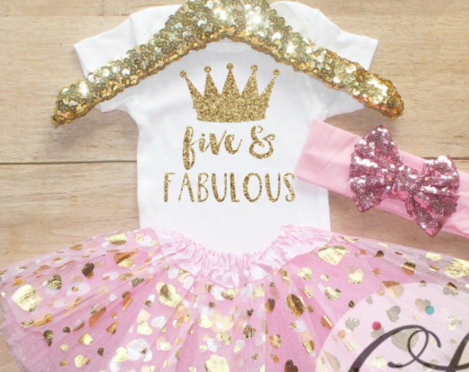 Fifth Birthday  Outfit / Baby Girl Clothes Five and Fabulous 5 Year Old Outfit Five Birthday Set 5th Birthday Girl Princess Crown 206