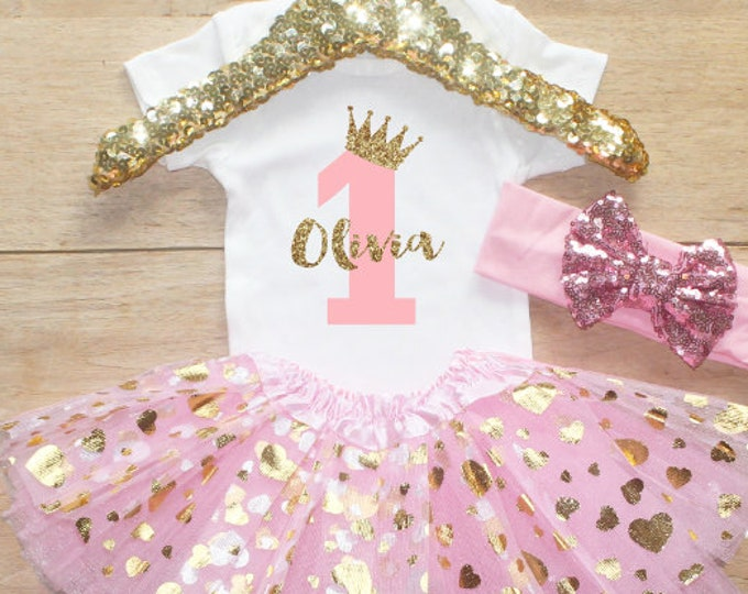 First Birthday Bodysuit Outfit / Baby Girl Clothes 1 Year Old  Outfit One Birthday Set 1st Birthday Girl Outfit  Crown Princess 067