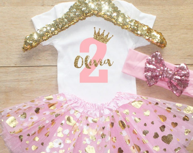 Second Birthday  Outfit / Baby Girl Clothes Princess 2 Year Old Outfit Second Birthday Set 2nd Birthday Girl Shirt  T-Shirt Set 067