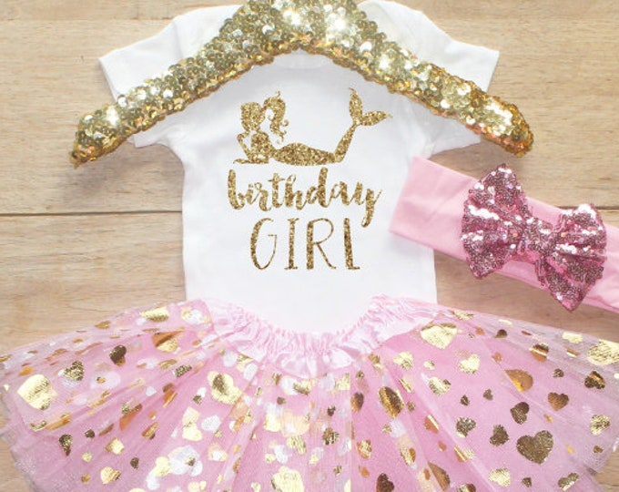 Birthday Girl  Bodysuit Outfit / Baby Girl Clothes 1 Year Old Outfit One Birthday Set 1st Birthday Girl Little Under Sea   Set 50