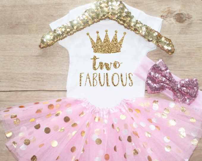 Second Birthday Outfit / Baby Girl Clothes Princess Two Fabulous 2 Year Old  Outfit Two Birthday Set 2nd Birthday Girl T-Shirt Shirt 211