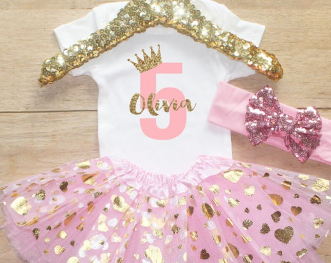 Fifth Birthday  Outfit / Baby Girl Clothes Princess 5 Year Old Outfit Five Birthday Set 5th Birthday Girl T-Shirt  Crown Shirt Set 67