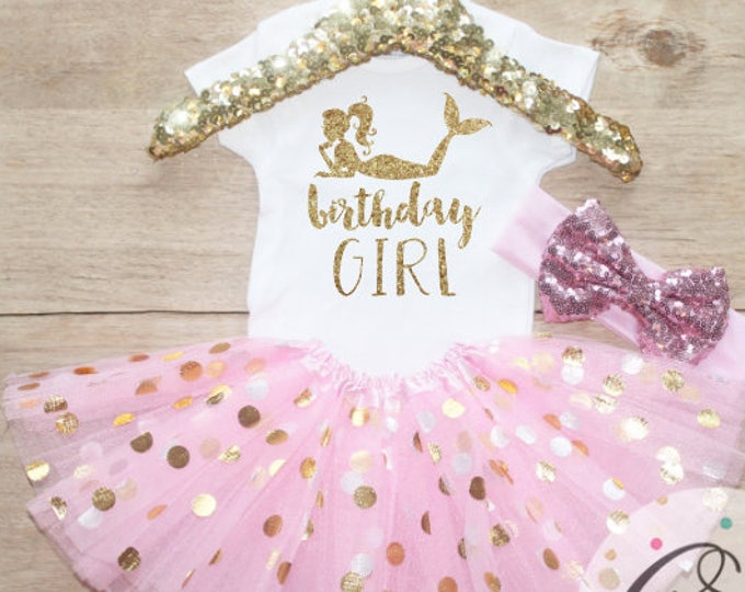 Birthday Girl  T-Shirt Outfit / Baby Girl Clothes 1 Year Old Outfit One Birthday Set 1st Birthday Girl Little Under Sea   Set 50